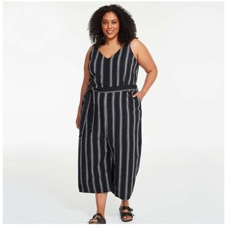 Joe Fresh Women+ Linen Blend Jumpsuit, Black (Size 3X)