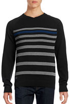 Point Zero V-Neck Stripe Knit Raglan Sweater