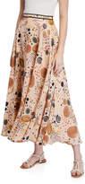 Lafayette 148 New York Ambria Circle Print Silk Maxi Skirt