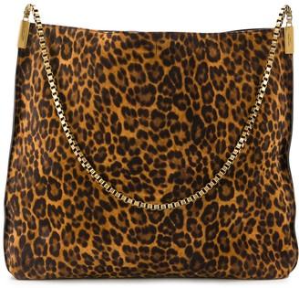 Saint Laurent Suzanne leopard hobo bag