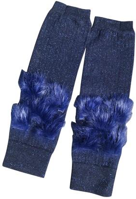 Off-White Blue Cotton Gloves