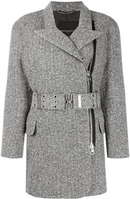 Ermanno Scervino Belted Herringbone Coat