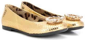 Roberto Cavalli Junior Crystal-Embellished Logo Ballerina Shoes