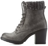 Charlotte Russe Sweater-Cuffed Lug Sole Booties
