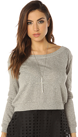 The All Day Cropped Sweatshirt in Grey Heather