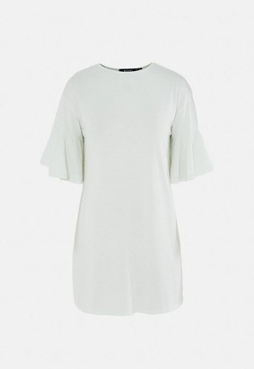 Missguided Mint Stripe Frill Sleeve T Shirt Dress