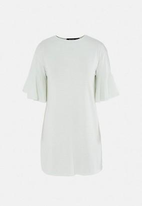 Missguided Stripe Frill Sleeve T Shirt Dress