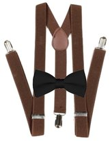 MXI Designs Brown Suspender and Bow ties Set Combo in Kids Boys Toddler Baby Mens