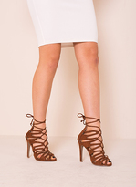 Missy Empire Kristen Brown Suede Lace Up Heels