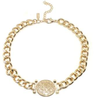 Savvy Cie 18K Yellow Gold Plated Coin Pendant Chain Link Necklace