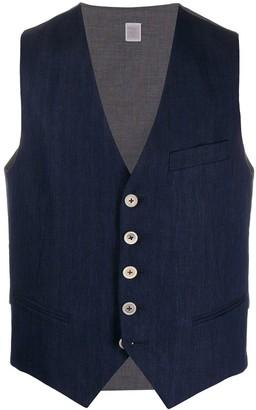 Eleventy contrast-panel V-neck waistcoat