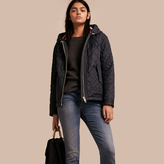 Burberry Diamond Quilted Hooded Jacket with Check Lining