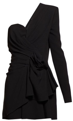 Saint Laurent Asymmetric Gathered Crepe Mini Dress - Black