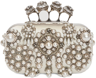 Alexander McQueen Pearly Studded Skull Four-Ring Clutch Bag