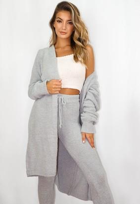 Missguided Grey Popcorn Knit Long Cardigan