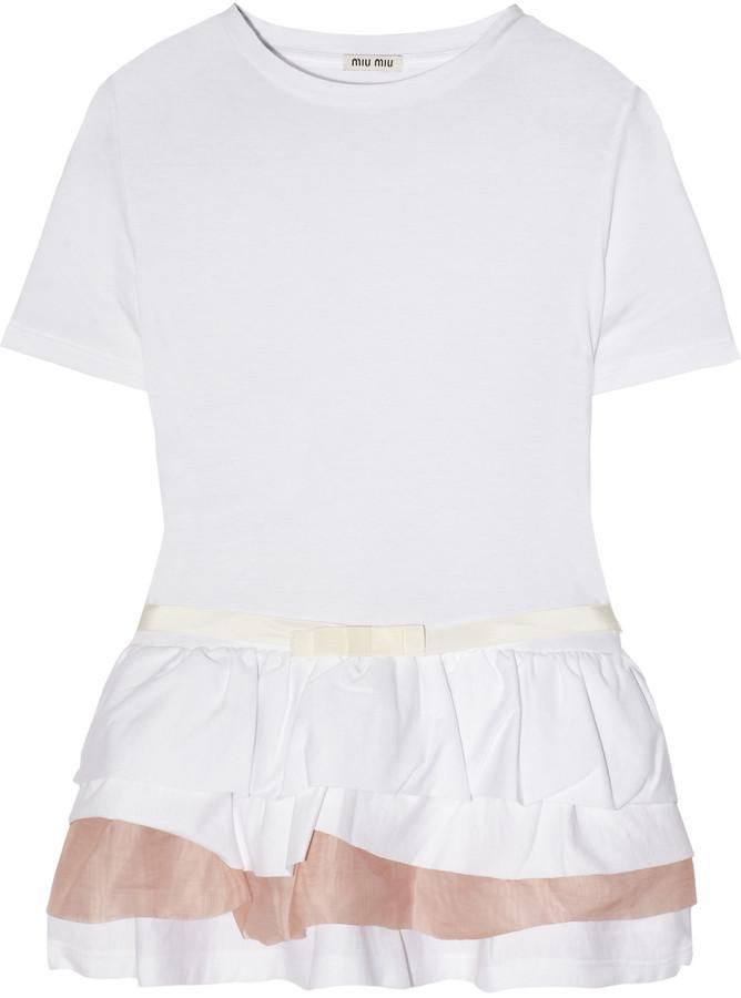 Miu Miu Ruffled cotton-jersey and organza top