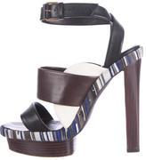 Balenciaga Striped Leather Platform Sandals