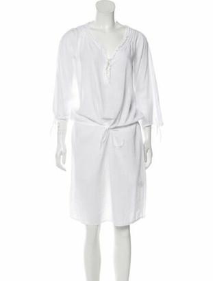 Massimo Alba V-Neck Knee-Length Dress White