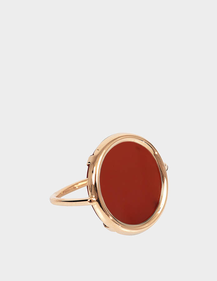 ginette_ny Cordoba Carnelian 18-karat rose gold Disc ring