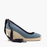 J.Crew Seville canvas espadrille wedges with ankle wrap