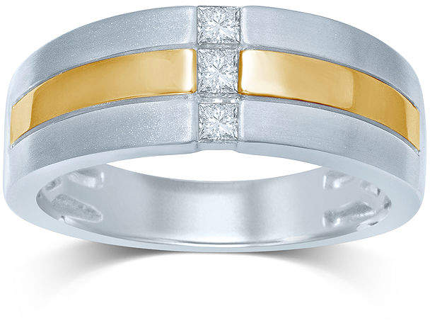 JCPenney FINE JEWELRY Mens 1/4 CT. T.W. Diamond 10K Two-Tone Gold 3-Stone Band