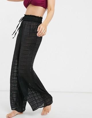 Fashion Union sheer striped beach pant in black