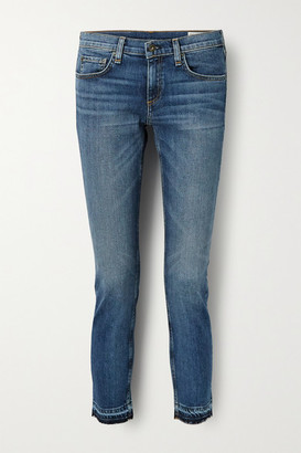 Rag & Bone Dre Capri Cropped Distressed Mid-rise Slim-leg Jeans - Mid denim