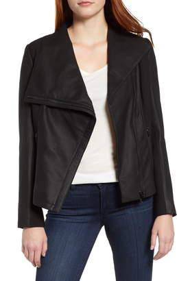 Via Spiga Asymmetrical Leather & Textile Jacket