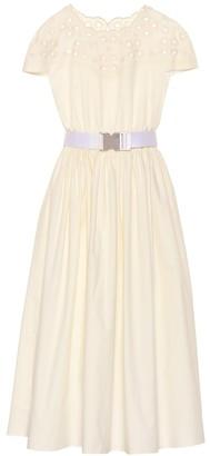 Fendi Embroidered cotton midi dress