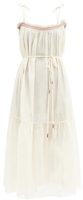 Loup Charmant Anacapri Smocked Organic-cotton Dress - Ivory