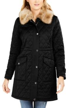 Michael Kors Michael Hooded Faux-Fur-Trim Quilted Coat