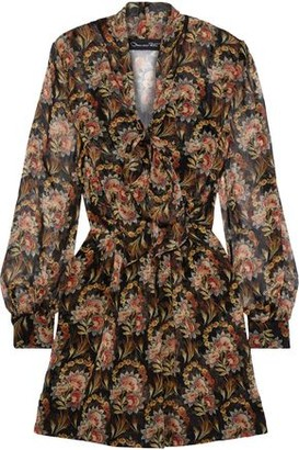 Oscar de la Renta Tie-neck Pleated Floral-print Silk-chiffon Mini Dress
