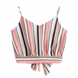 DEELIN Women's Tops Summer Beach Vest Tops Self Tie Back V Neck Striped Print Crop Sleeveless Tank Tops Club Party Camisole Blouse T-Shirt for Women(Pink XL)