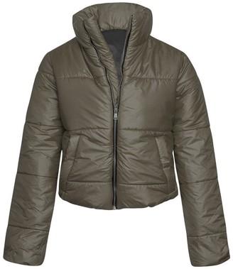 Flirty Wardrobe Womens Wet Look Cropped Jackets Coat Ladies Padded Bomber Bubble Puffer Short UK[Khaki XL]