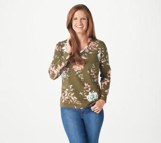 Denim & Co. Printed Perfect Jersey V-Neck Top