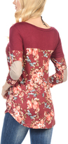 Magic Fit Burgundy Floral Elbow Patch Tunic