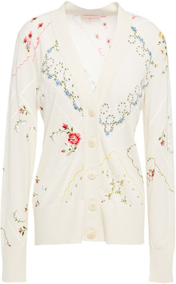Tory Burch Simone Embellished Printed Cotton-blend Cardigan