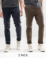 Asos 2 Pack Slim Chinos In Navy And Brown