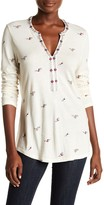 Lucky Brand Embroidered Floral Print Knit Shirt