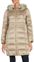 Eliza J Faux Fur Collar Puffer Coat
