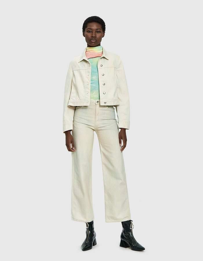 Eckhaus Latta Cropped Denim Jacket in Soft Watercolor