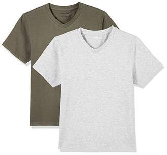 UNACOO Kids 2-Pack V-Neck Short Sleeve Cotton Tees Basic Solid T-Shirts for Boys and Girls (