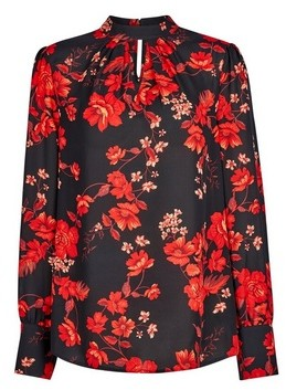 Dorothy Perkins Womens Tall Red Floral Print Honey Top, Red