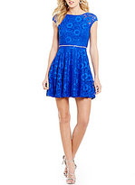 Jodi Kristopher Lace Embellished Skater Dress