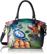 Anuschka Hand-Painted Leather Medium Convertible Satchel | Top Handle Shoulder Bag/Purse | Ocean Treasures