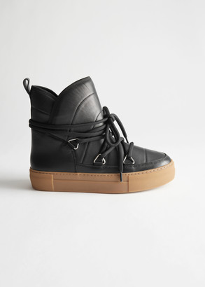 And other stories Shearling Lined Leather Snow Boots