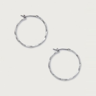 The White Company Hammered Hoop Earrings, Silver, One Size