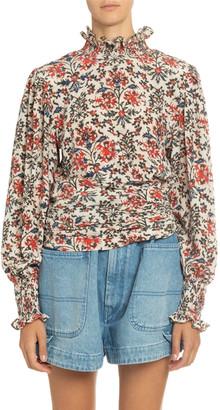 Isabel Marant Floral Print Silk Mock-Neck Blouse