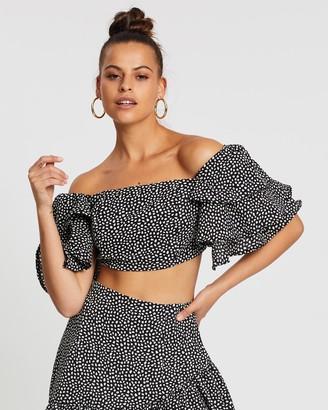 boohoo Woven Spot Ruffle Sleeve + Skirt Co-Ord