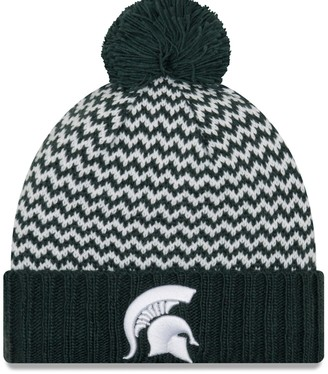 New Era Women's Green Michigan State Spartans Patterned Cuffed Knit Hat with Pom